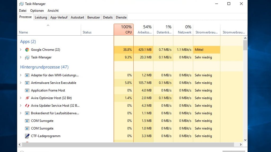 Google Chrome Arbeitsspeicher