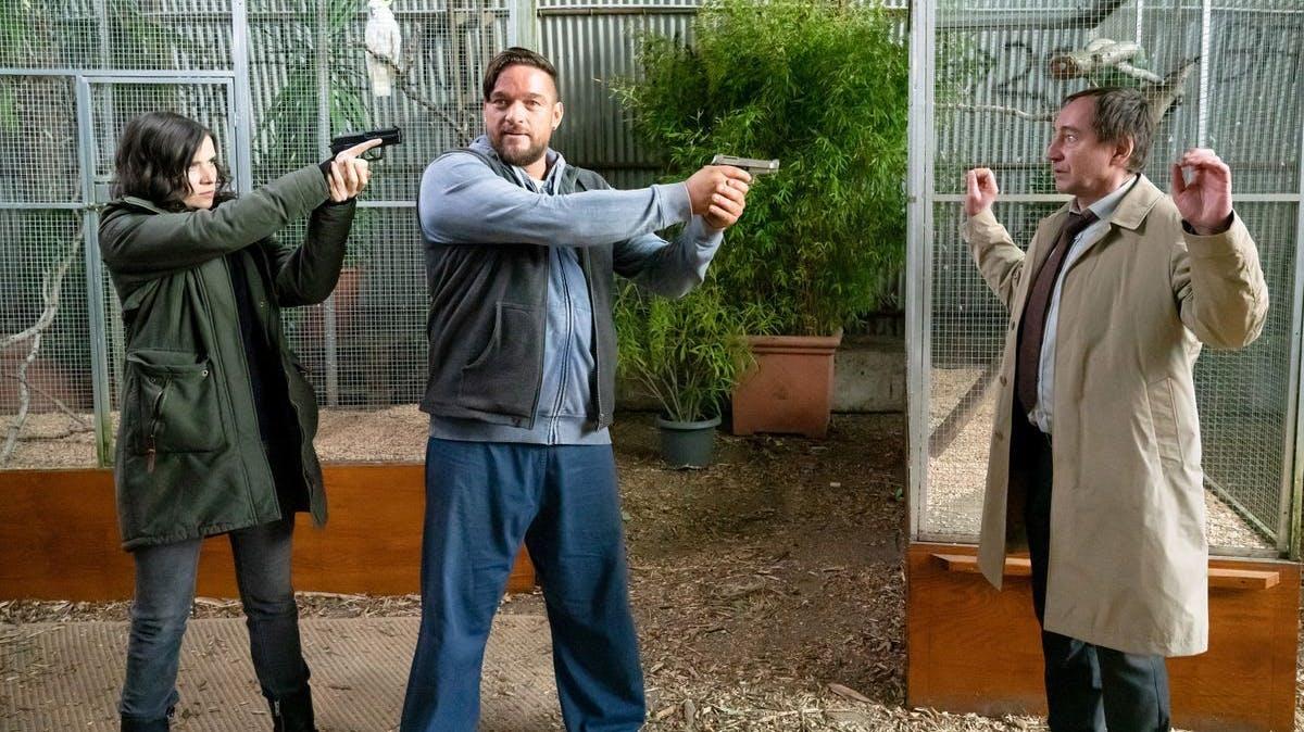 Fast wie bei Tarantino: Kira Dorn (Nora Tschirner) stellte John Geist (Ronald Zehrfeld), dieser bedrohte Kurt Stich (Thorsten Merten).