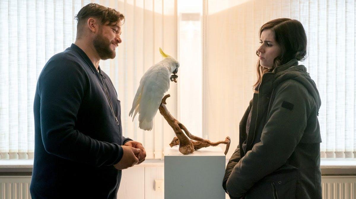 John Geist (Ronald Zehrfeld) zeigte sich als Vogelliebhaber – Kira Dorn (Nora Tschirner) befragte ihn skeptisch.