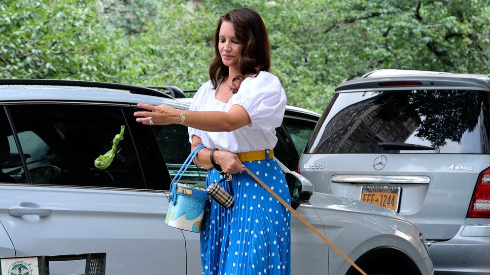 NEW YORK, NY - JULY 12: Kristin Davis is seen filming