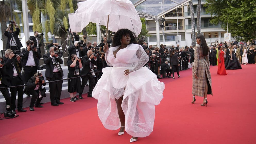 Yseult poses for photographers upon arrival at the premiere of the film 'The Restless' at the 74th international film festival, Cannes, southern France, Friday, July 16, 2021. (AP Photo/Vadim Ghirda)
