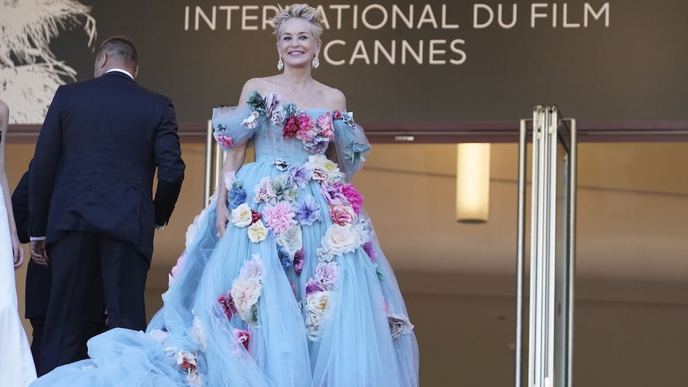 Sharon Stone poses for photographers upon arrival at the premiere of the film 'The Story of My Wife' at the 74th international film festival, Cannes, southern France, Wednesday, July 14, 2021. (AP Photo/Brynn Anderson)
