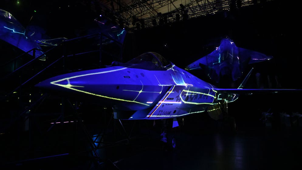 epa09354987 A prototype of a Russia's new fifth-generation light multipurpose single-engine fighter Checkmate on display during the MAKS-2021 International Aviation and Space Salon in Zhukovsky, outside Moscow, Russia, 20 July 2021. MAKS 2021 International Aviation and Space Salon takes place from 20 to 25 July.  EPA/ALEXEI NIKOLSKY/SPUTNIK /KREMLIN POOL MANDATORY CREDIT