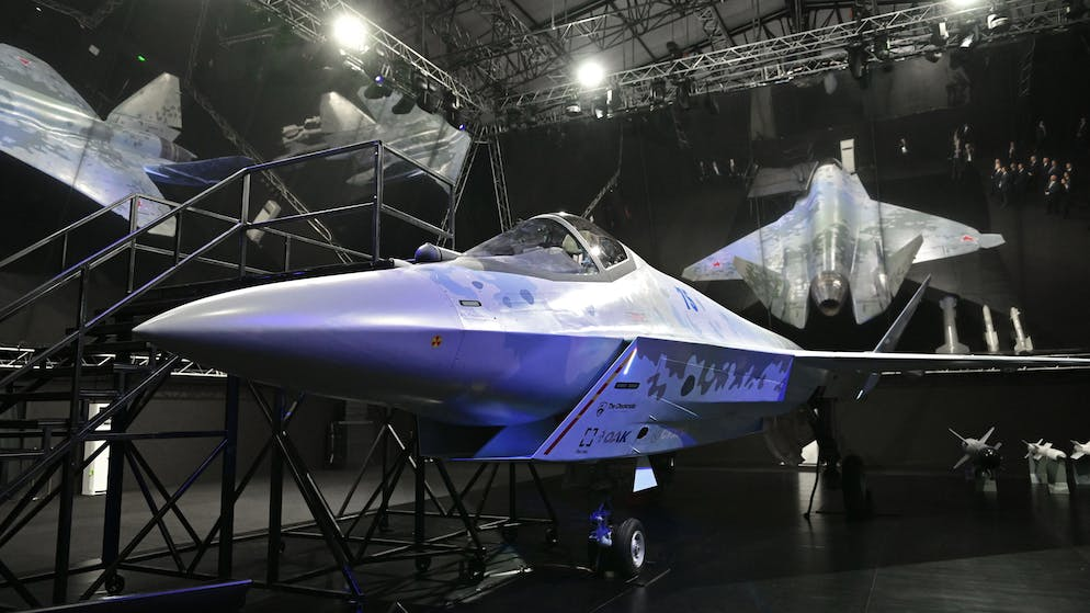 epa09354978 A prototype of a Russia's new fifth-generation light multipurpose single-engine fighter Checkmate on display during the MAKS-2021 International Aviation and Space Salon in Zhukovsky, outside Moscow, Russia, 20 July 2021. MAKS 2021 International Aviation and Space Salon takes place from 20 to 25 July.  EPA/ALEXEI NIKOLSKY/SPUTNIK /KREMLIN POOL MANDATORY CREDIT