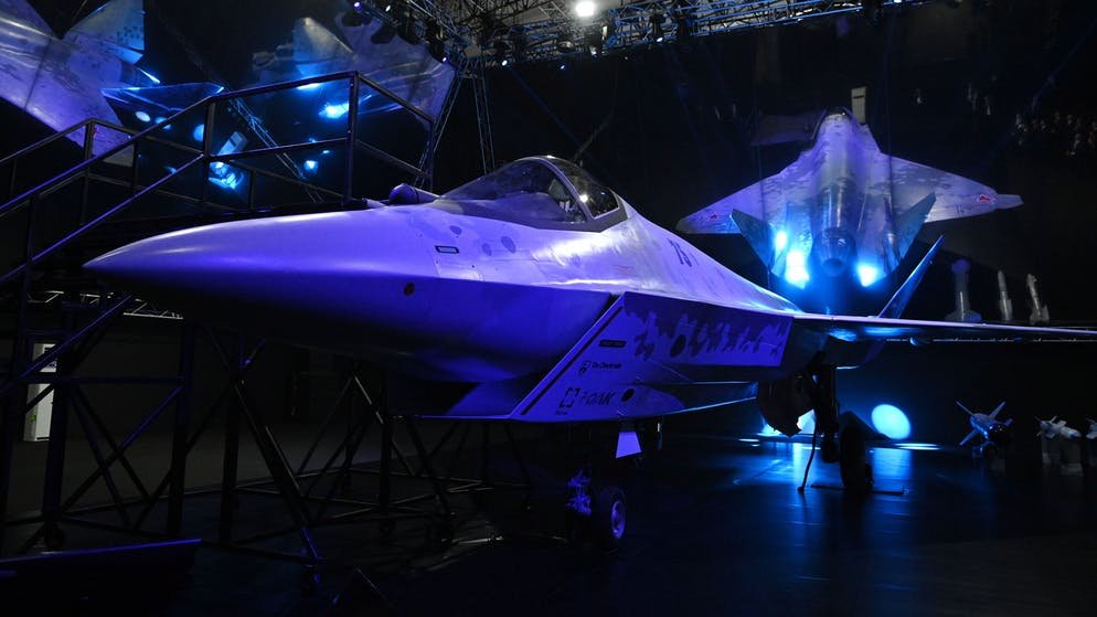 epa09354988 A prototype of a Russia's new fifth-generation light multipurpose single-engine fighter Checkmate on display during the MAKS-2021 International Aviation and Space Salon in Zhukovsky, outside Moscow, Russia, 20 July 2021. MAKS 2021 International Aviation and Space Salon takes place from 20 to 25 July.  EPA/ALEXEI NIKOLSKY/SPUTNIK /KREMLIN POOL MANDATORY CREDIT