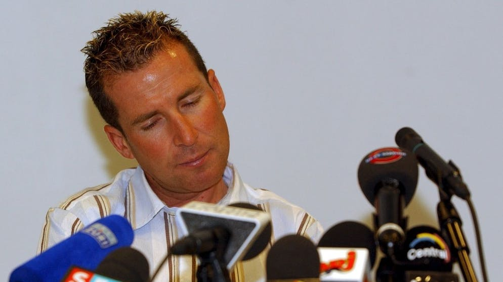 One of Switzerlands olympic hopes, cyclist Oscar Camenzind, ponders at a press conference after admitting that he took the performance enchancing drug EPO, which was revealed in a drug test during a training session in July 2004, Tuesday, August 10, 2004 in Lucerne, Switzerland. Camenzind will not start at the Olympic Games 2004 in Athens and has been discharged by his Swiss team Phonak Cycling. (KEYSTONE/Sigi Tischler)