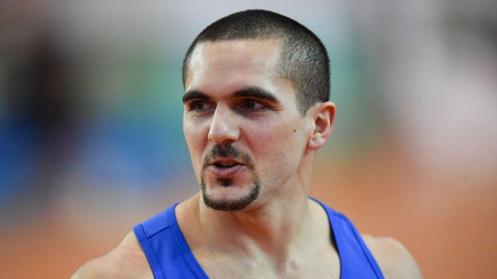 Pascal Mancini, im Vorlauf ueber 60 Meter, an den Schweizer Leichtathletik Hallen Meisterschaften, am Samstag, 15. Februar 2020, in St. Gallen. (KEYSTONE/Gian Ehrenzeller)