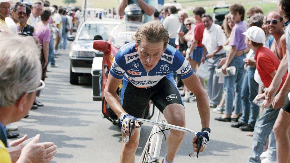Radrennfahrer Beat Breu am 18. Juni 1989 in Aktion bei der 5. Etappe der Tour de Suisse, einem Bergzeitfahren von Baden-Daettwil auf den Heitersberg. (KEYSTONE/Martin Ruetschi)