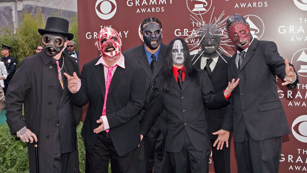 The group Slipknot arrives for the 47th Annual Grammy Awards Sunday, Feb. 13, 2005, at the Staples Center in Los Angeles. (AP Photo/Mark J. Terrill)