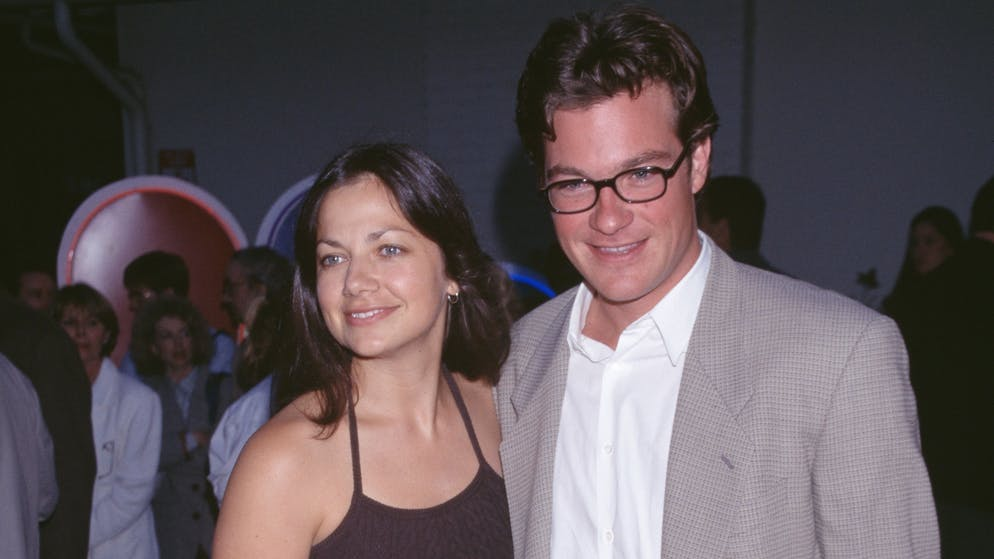 American actress Justine Bateman and her brother, American actor Jason Bateman attend the 1997 NBC New Season event at NBC Studios in Los Angeles, California, July 1996. (Photo by Vinnie Zuffante/Michael Ochs Archives/Getty Images)