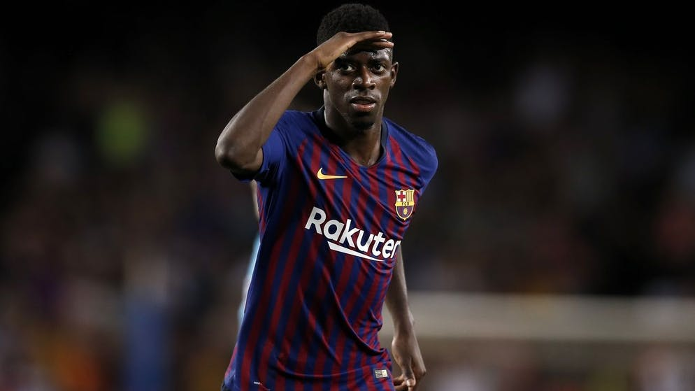 Barcelona forward Ousmane Dembele celebrates after scoring his side's second goal during the group B Champions League soccer match between FC Barcelona and PSV Eindhoven at the Camp Nou stadium in Barcelona, Spain, Tuesday, Sept. 18, 2018. (AP Photo/Manu Fernandez)
