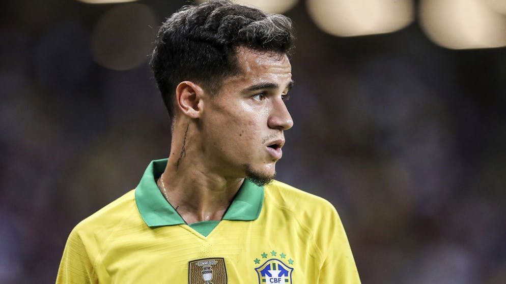 Brazil's Philippe Coutinho during the Brazil Global Tour 2019 international friendly match between Brazil and Nigeria in Singapore, Sunday, Oct. 13, 2019. (AP Photo/Danial Hakim)
