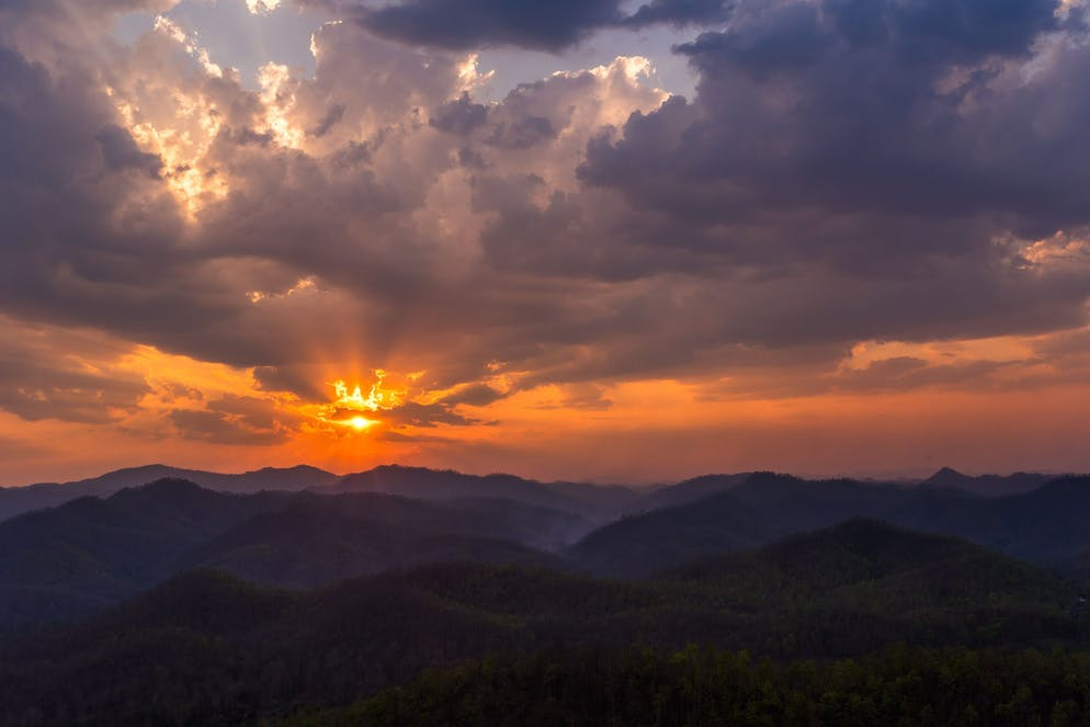 Sunset over the mountainous Mae Hong Son Province