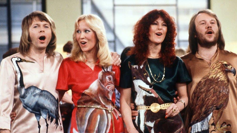 Die schwedische Popgruppe Abba 1978 mit (l-r) Björn Ulvaeus, Agnetha Fältskog, Anni-Frid Lyngstad und Benny Andersson.