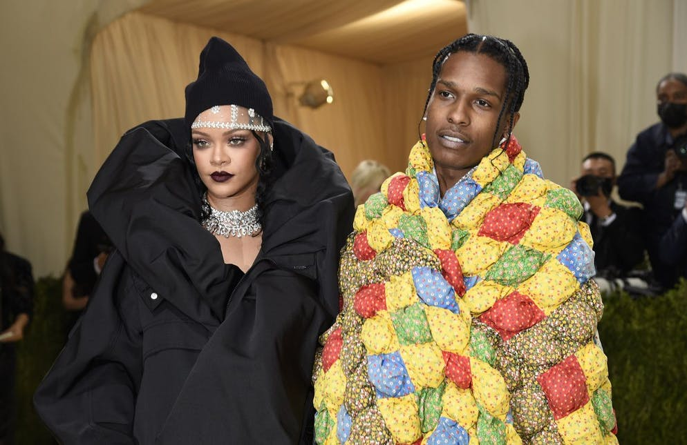 Rihanna, left, and ASAP Rocky attend The Metropolitan Museum of Art's Costume Institute benefit gala celebrating the opening of the