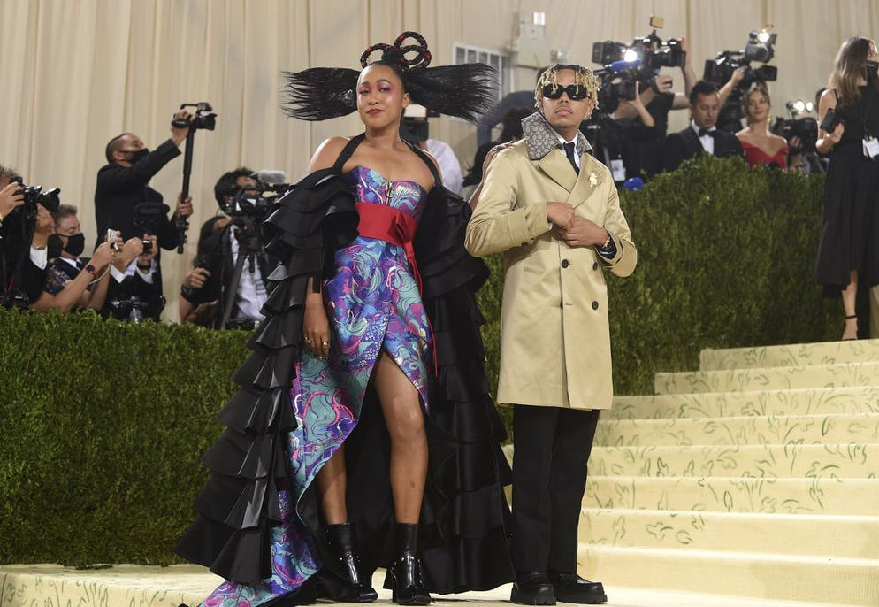 Naomi Osaka, left, and Cordae attend The Metropolitan Museum of Art's Costume Institute benefit gala celebrating the opening of the