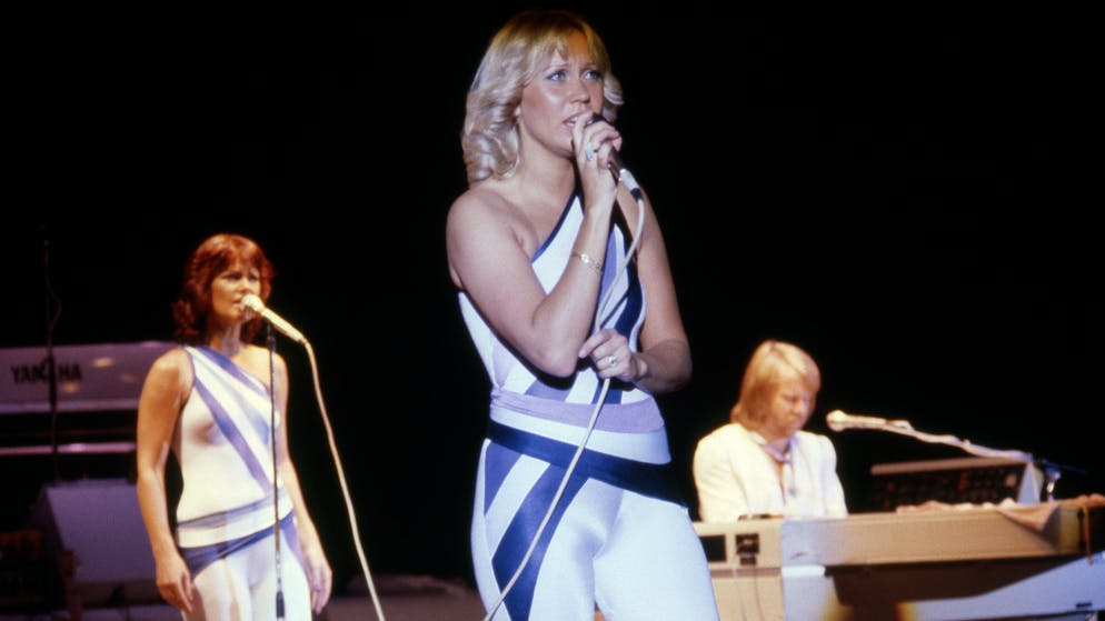 CONCORD, CA - SEPTEMBER 19:  ABBA (Anni-Frid Lyngstad (Frida), Agnetha Fältskog and Benny Andersson) performs at Concord Pavilion on September 19, 1979 in Concord, California.  (Photo by Ed Perlstein/Redferns/Getty Images)