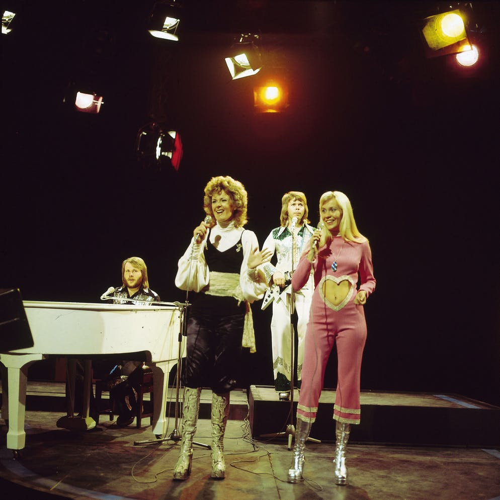 UNITED KINGDOM - MAY 01:  TOP OF THE POPS  Photo of ABBA, L-R: Benny Andersson, Anni-Frid Lyngstad, Bjorn Ulvaeus, Agnetha Faltskog performing 'Waterloo' on Top Of The Pops TV Show  (Photo by David Redfern/Redferns)