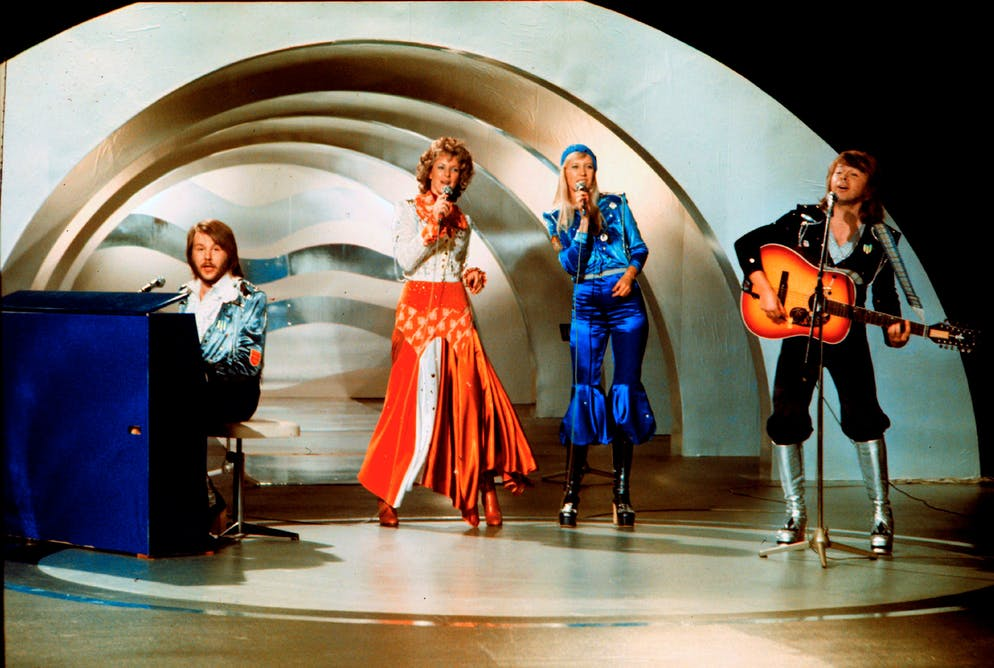 Swedish pop group Abba, performs during the the Eurovision Song Contest 1974  on February 09, 1974 in Brighton with their song Waterloo. Abba won the Eurovision Song Contest in England with