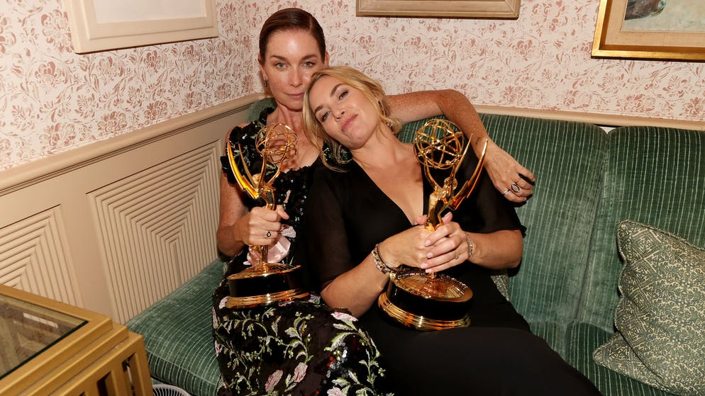 WEST HOLLYWOOD, CALIFORNIA - SEPTEMBER 19: (L-R) Julianne Nicholson and Kate Winslet attend the HBO/ HBO Max Post Emmys Reception at San Vicente Bungalows on September 19, 2021 in West Hollywood, California. (Photo by FilmMagic/FilmMagic for HBO/HBO Max)