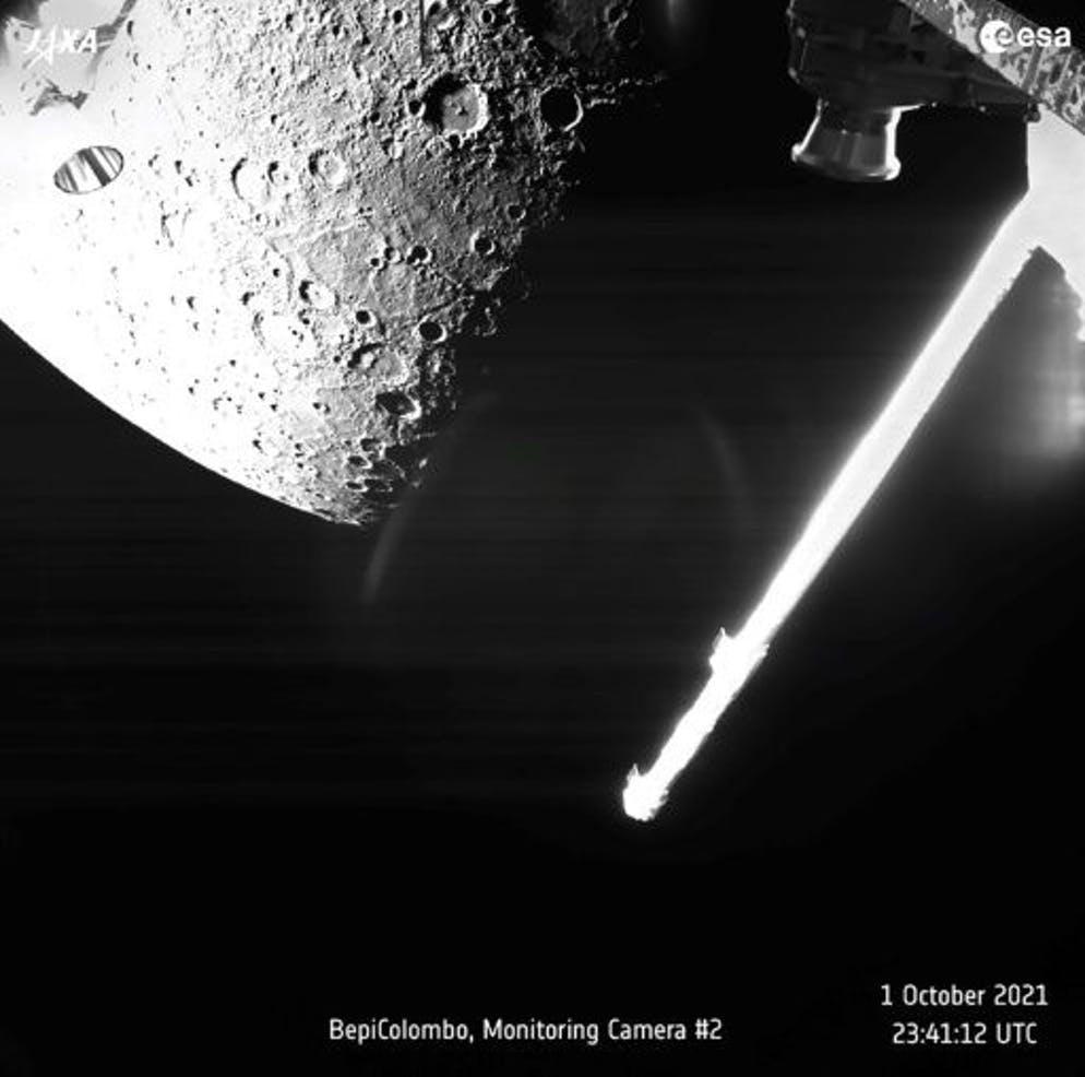 Photo fournie par l'ESA le 2 octobre 2021, montrant une vue de Mercure capturée par le satellite BepiColombo