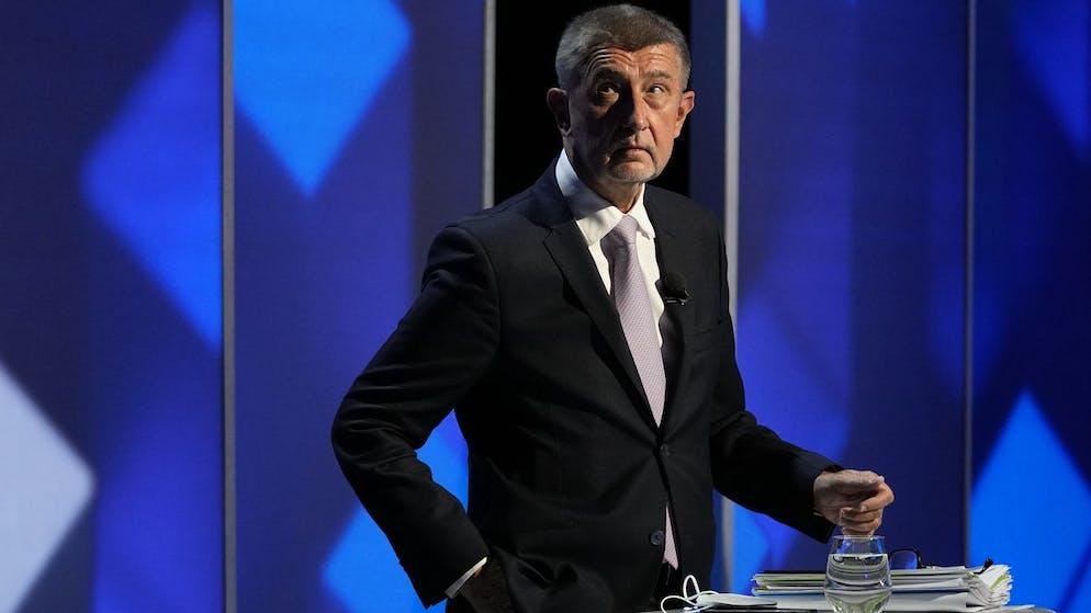 Czech Republic's Prime Minister Andrej Babis attends a TV debate ahead of the upcoming general election in Prague, Czech Republic, Sunday, Oct. 3, 2021. (AP Photo/Petr David Josek)