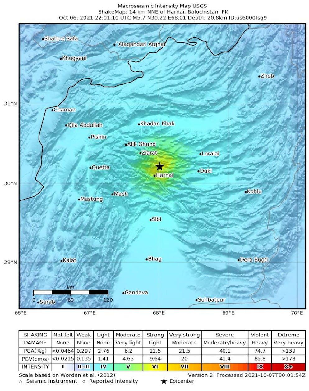 Un document shakemap mis à disposition par le United States Geological Survey (USGS) montre l'emplacement d'un tremblement de terre de magnitude 5,7 frappant la province du Baloutchistan, le 07 octobre 2021.