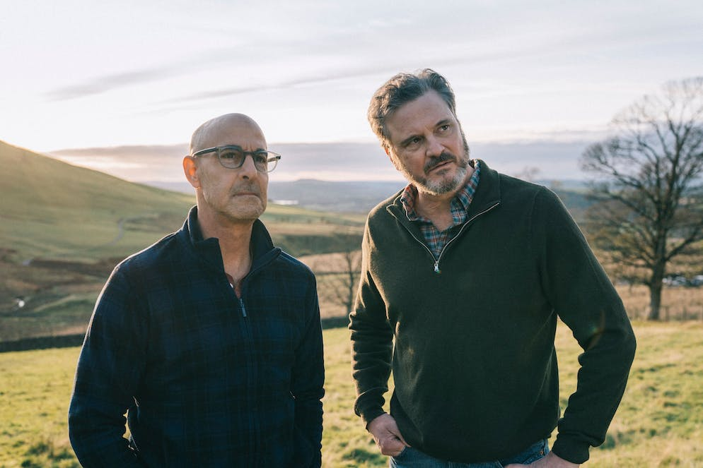 This image released by Bleecker Street shows Stanley Tucci, left, and Colin Firth in a scene from