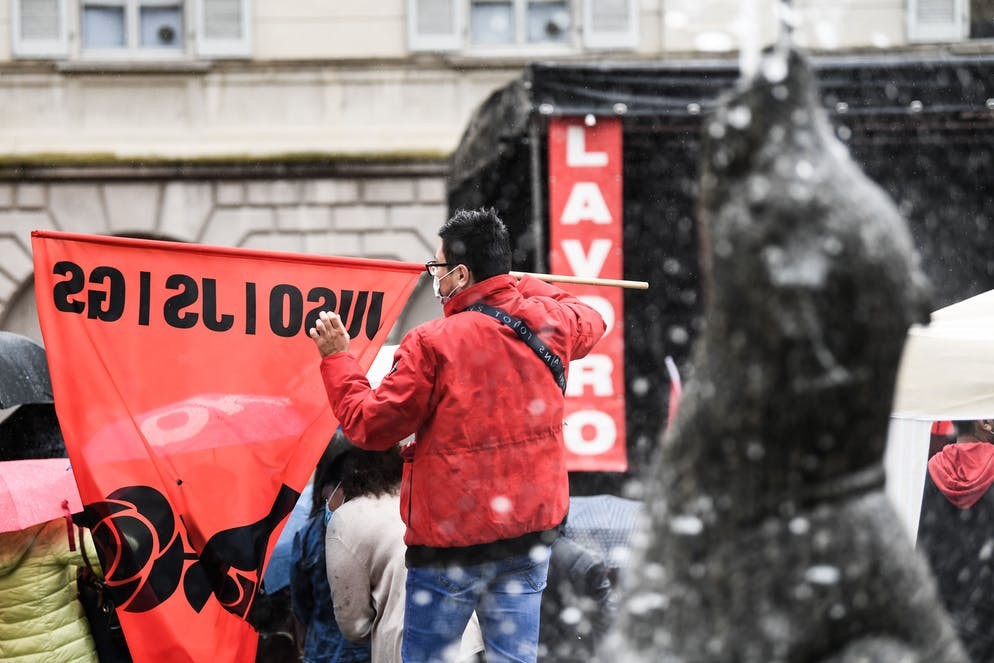 Bellinzona: 1. maggio, corteo MPS. Nella foto uno scorcio nei pressi di Piazza Governo durante la manifestazione del 1.Maggio organizzata dal Partito Socialista. © Ti-Press / Alessandro Crinari