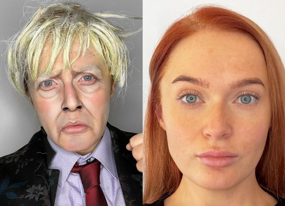 A gifted British make-up artist can transform herself into celebrities.   Nicky Hill, 27, from Ashton-under-Lyne, Manchester, has used her skills with a brush to recreate the features of Adele, Angelina Jolie, Boris Johnson and Donald Trump.   Nicky says the Covid-19 pandemic found her unable to do her usual work, so she has used her abilities to use her face as a canvas.   Her work not only includes famous faces, but wacky designs featuring bananas, Spider-Man, a snake and even a mouse appearing in her cheek.  Featuring: Boris Johnson Where: Manchester, United Kingdom When: 25 Mar 2021 Credit: Nicky Hill/Cover-Images.com  **Editorial use only**