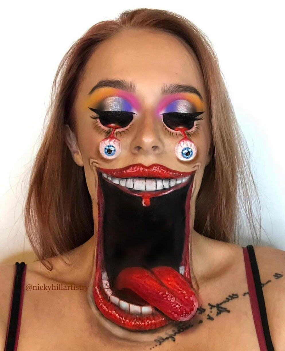 A gifted British make-up artist can transform herself into celebrities.   Nicky Hill, 27, from Ashton-under-Lyne, Manchester, has used her skills with a brush to recreate the features of Adele, Angelina Jolie, Boris Johnson and Donald Trump.   Nicky says the Covid-19 pandemic found her unable to do her usual work, so she has used her abilities to use her face as a canvas.   Her work not only includes famous faces, but wacky designs featuring bananas, Spider-Man, a snake and even a mouse appearing in her cheek.  Where: Manchester, United Kingdom When: 25 Mar 2021 Credit: Nicky Hill/Cover-Images.com  **Editorial use only**