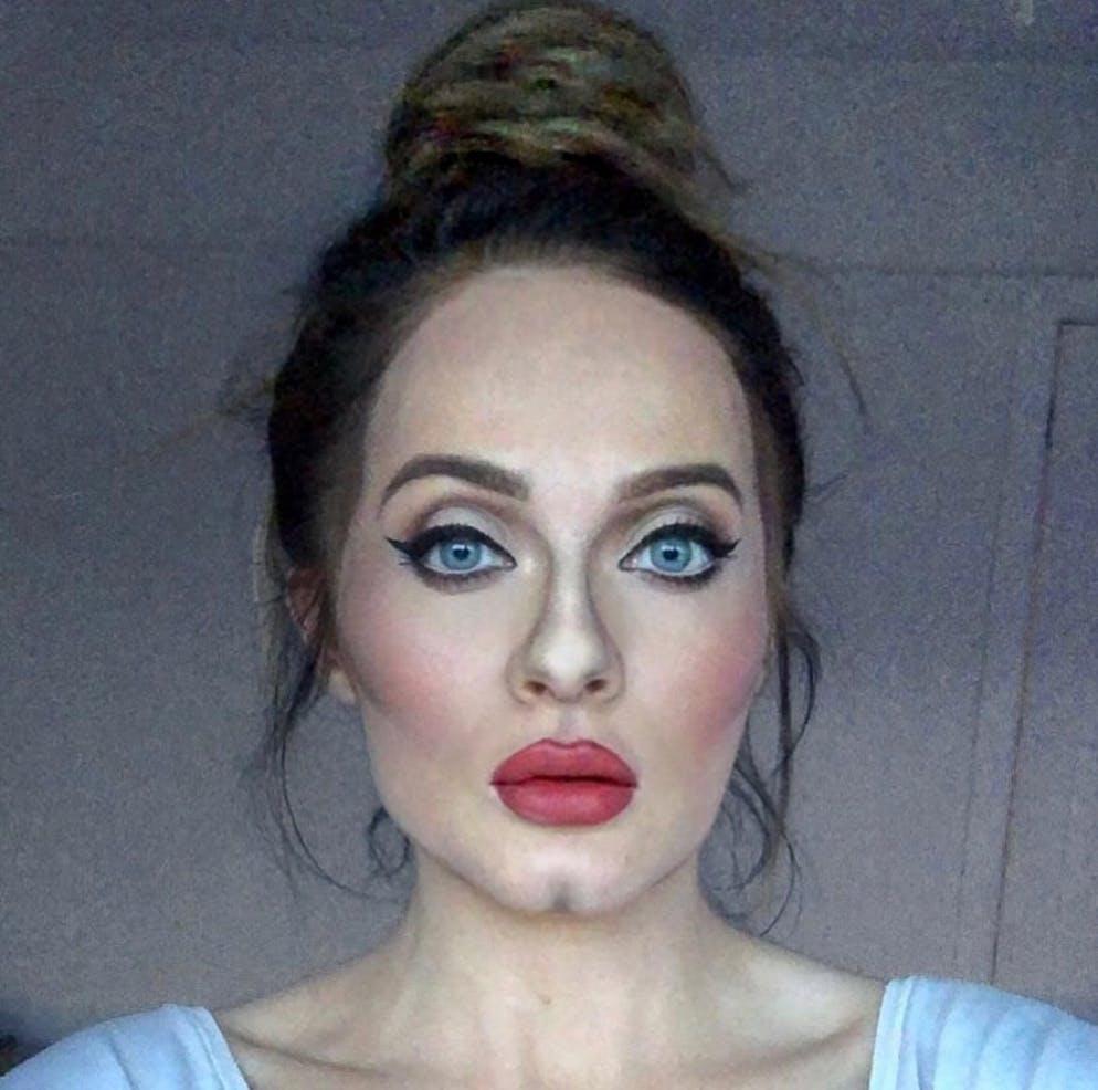 A gifted British make-up artist can transform herself into celebrities.   Nicky Hill, 27, from Ashton-under-Lyne, Manchester, has used her skills with a brush to recreate the features of Adele, Angelina Jolie, Boris Johnson and Donald Trump.   Nicky says the Covid-19 pandemic found her unable to do her usual work, so she has used her abilities to use her face as a canvas.   Her work not only includes famous faces, but wacky designs featuring bananas, Spider-Man, a snake and even a mouse appearing in her cheek.  Featuring: Adele Where: Manchester, United Kingdom When: 25 Mar 2021 Credit: Nicky Hill/Cover-Images.com  **Editorial use only**