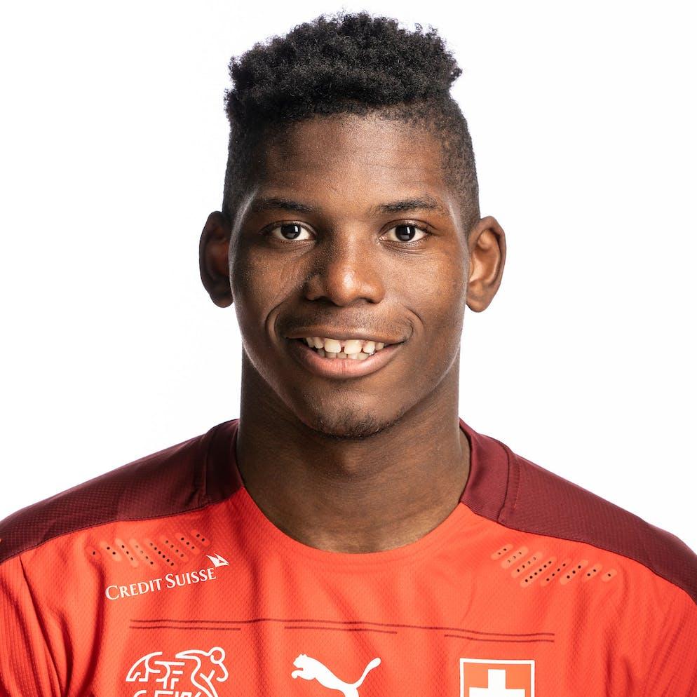 Portrait von Breel Embolo, der Schweizer Fussballnationalmannschaft, aufgenommen am 22. Maerz 2021 in Abtwil (SG). (KEYSTONE/Gaetan Bally)
