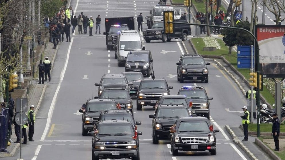 The motorcade of US President Barack Obama drives on the empty streets of Istanbul, on Tuesday April 7, 2009. President Obama wrapped up his first European trip as president with a request for other nations to look past his nation's stereotypes and flaws. (AP Photo/Ibrahim Usta)