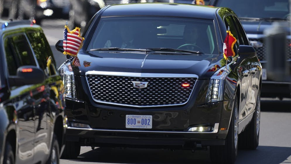 The car carrying U.S. President Joe Biden drives in a motorcade to the 'Villa la Grange' ahead of the meeting of US President Joe Biden and Russian President Vladimir Putin at the villa, in Geneva, Switzerland Wednesday, June 16, 2021. U.S. President Joe Biden and Russia's Vladimir Putin are set to meet for their highly anticipated summit in the Swiss city of Geneva. It's a moment of high-stakes diplomacy that comes as both leaders agree that U.S.-Russian relations are at an all-time low. (AP Photo/Michael Probst)