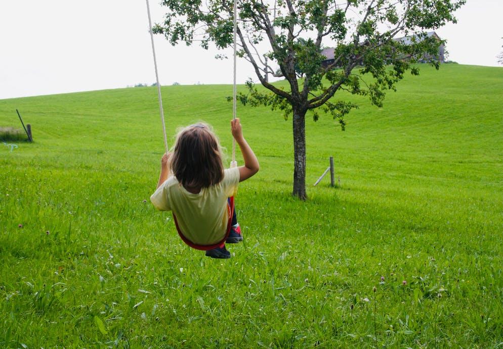 Tochter von Redaktorin Sulamith Ehrensperger schaukelt in Natur / Ferien auf dem Bauernhof