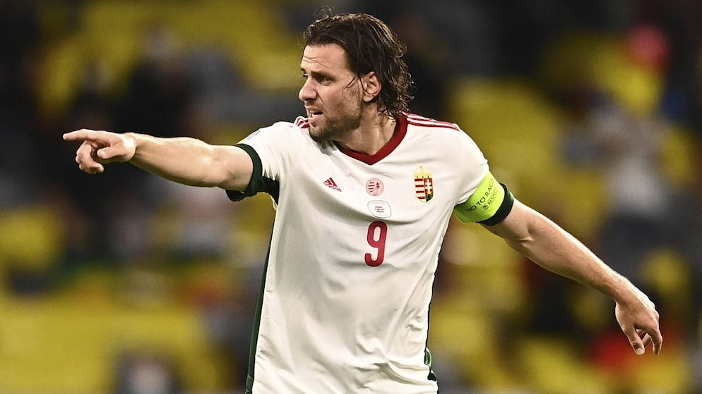 Hungary's Adam Szalai gestures during the Euro 2020 soccer championship group F match between Germany and Hungary at the Allianz Arena in Munich, Germany,Wednesday, June 23, 2021. (Lukas Barth/Pool Photo via AP)