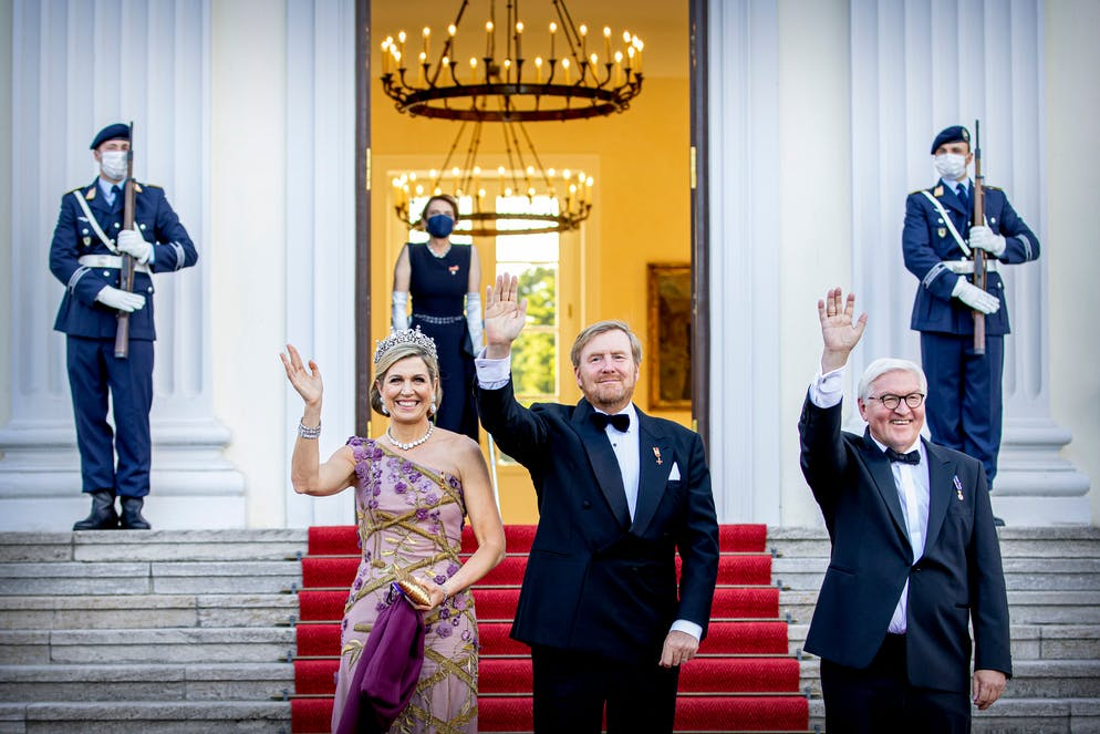 BERLIN, GERMANY - JULY 05: King Willem-Alexander of The Netherlands and Queen Maxima of The Netherlands visit Schloss Bellevue where German President Frank-Walter Steinmeier and his wife Elke Budebender offer the King and Queen a state banquet on July 5, 2021 in Berlin, Germany. Their Majesties are paying their first official visit since the global health crisis began over a year ago, with a state visit to Germany from July 5-7. (Photo by Patrick van Katwijk/Getty Images)